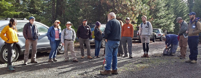 Jim Trappe (center) gives an orientation to his BioBlitz 2016 team.  Photo credit: Friends of Cascade-Siskiyou National Monument.