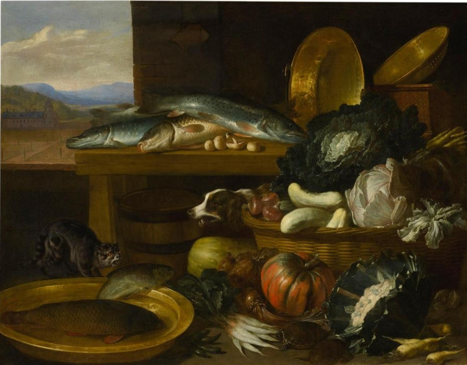 Boucle, Still life of fish and vegetables in baskets and copper dishes