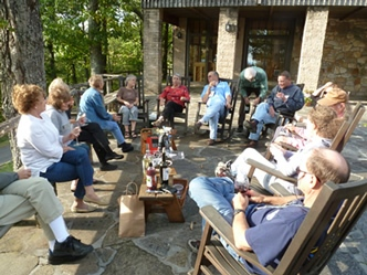 wine and cheese social on the back patio
